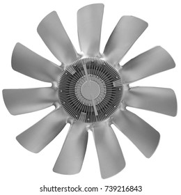 Isolated on white silver metal air screw of truck diesel engine. Car truck diesel engine fan airscrew. Silver metal fan. Car truck tractor engine fan blades. Car truck details parts Car details parts