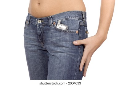 isolated on white woman's hip wearing jeans with mobile phone in the pocket