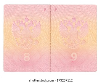 Isolated opened Russian passport