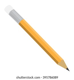 isolated orange grey pencil with rubber raster illustration