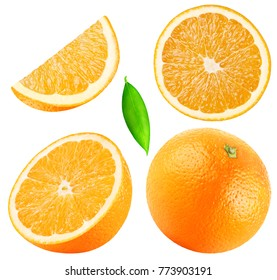 Isolated oranges. Collection of whole, half, slice, piece orange fruits with leaf isolated on white background with clipping path