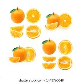 Isolated oranges. Collection of whole and sliced orange fruits isolated on white background