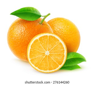 Isolated oranges. Group of fresh orange fruits with leaves on white background, with clipping path