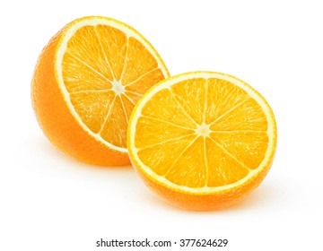 Isolated oranges. Orange fruit cut in half isolated on white background with clipping path