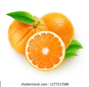 Isolated oranges. Three orange fruits isolated on white background with clipping path