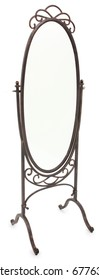 Isolated ornate decorative dressing mirror over white.