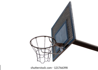 Isolated Outdoor Basketball Court with white background
