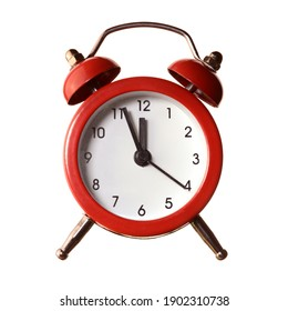An isolated over white background image of a red alarm clock displaying a time of five minutes to twelve oclock.