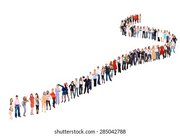 Isolated over White People in Queue