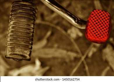 Isolated paddles of a bike with a red brake unique photo