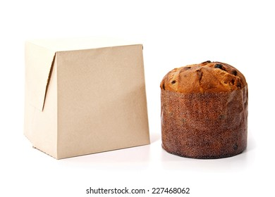 An isolated panetone and box on white background for christmas