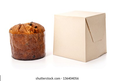 An isolated panetone (xmas cake) and box on white background for christmas
