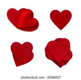 isolated paper love hearts