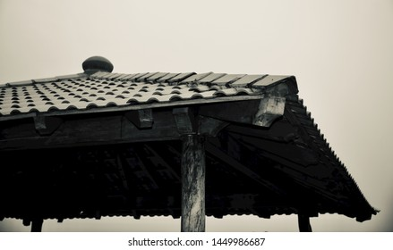 Isolated parts of a concrete rooftop unique photo