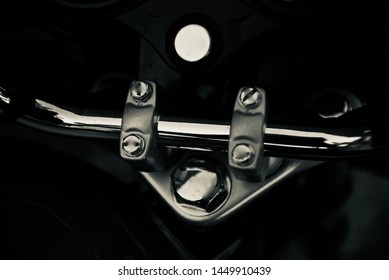 Isolated parts of a handlebar of a bike unique photo