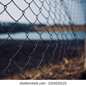 Isolated parts of metallic protection fence unique photo