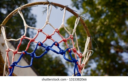 Isolated parts of a nylon basketball nets unique photo