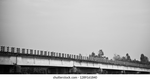 Isolated parts of a traditional bridge black and white photo