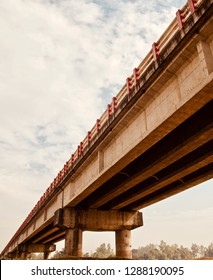 Isolated parts of a traditional concrete made highway bridge