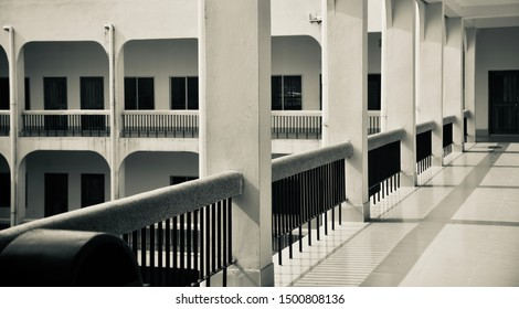 Isolated parts of a traditional concrete white building