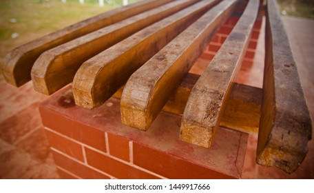 Isolated parts of a wooden bench unique photo