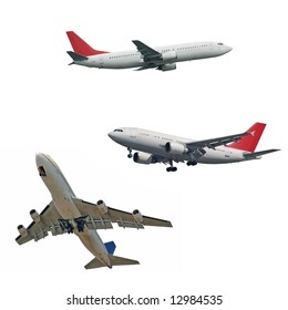 isolated passenger jets, three different type and position, isolated