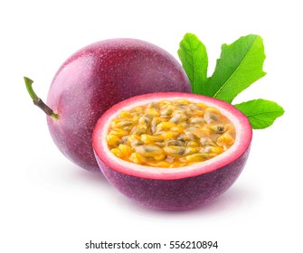 Isolated passionfruits. One and a half passion fruits (maracuya) isolated on white background with clipping path