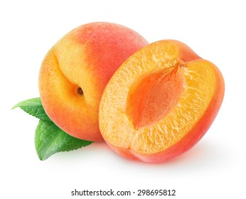Isolated peach. One and a half peach or apricot fruit over white background with clipping path