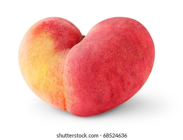 Isolated peach. One heart shaped peach fruit isolated on white background