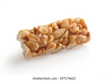 Isolated peanut brittles brick on the white background