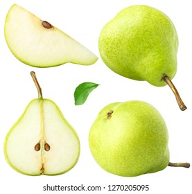 Isolated pears. Collection of whole and sliced pear fruits with leaf isolated on white with clipping path
