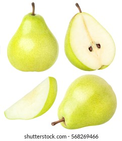 Isolated pears. Collection of whole and sliced pear fruits with leaves isolated on white with clipping path