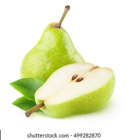 Isolated pears. One and a half green pear fruit isolated on white background with clipping path