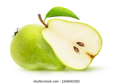 Isolated pears. Two halves of green pear fruits isolated on white background with clipping path