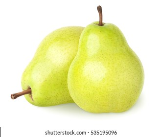 Isolated pears. Two pear fruits isolated on white, clipping path