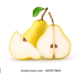 Isolated pears. Whole, half and a piece of pear fruit with leaf isolated on white background with clipping path