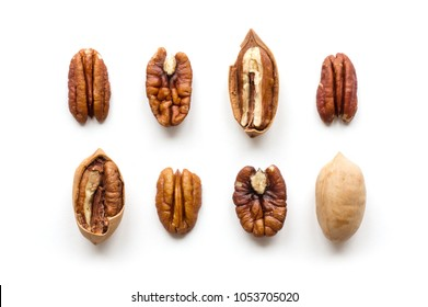 Isolated Pecan Nuts Set. Top view.  Roasted mexican nut.