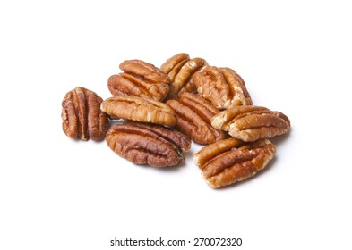 Isolated Pecans on White Background