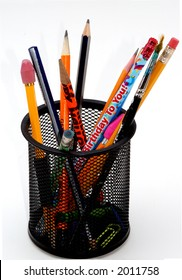 An isolated pencil holder with pencils