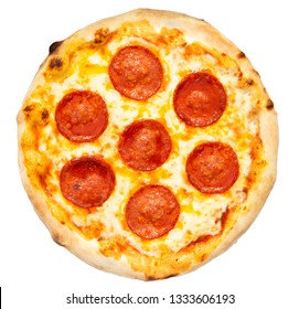 Isolated pepperoni pizza on pure white background See more pizzas in my gallery