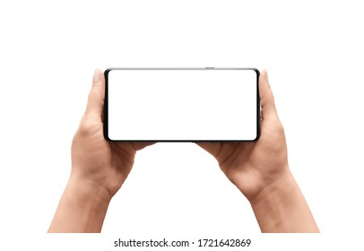 Isolated phone mockup in woman hands. Horizontal position. Isolated display and background - Shutterstock ID 1721642869