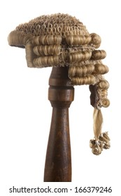 Isolated photo of an antique horsehair judge's wig