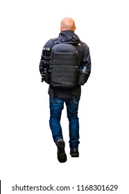 Isolated photo back view of adult man with overcoat and backpack walking