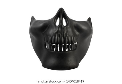 Isolated photo of a black human skull mask on white background front view.