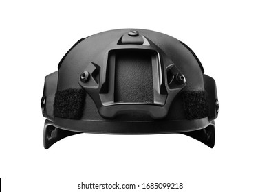 Isolated photo of a black soldier helmet front view.