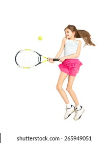 Isolated photo of cute girl jumping and beating tennis ball with racket