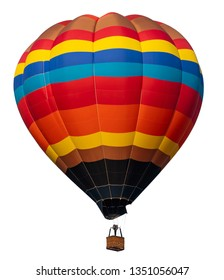 Isolated photo of hot air balloon isolated on white background.