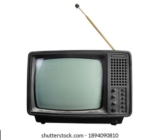 Isolated photo of an old black soviet tv set on white background.