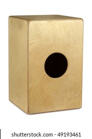 Isolated photograph of a Cajon hand drum from Peru.  Clipping path included.