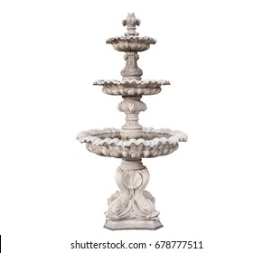 Isolated  picture with clipping path, Old fountain in the public park on white background